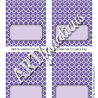 "Place Card Template ""LAVENDER QUATREFOIL Place Cards 8.5X11 Template"" in lavender, lilac, purple, gray, white colors with quatrefoil design"