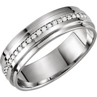 Men's Platinum Wedding Band - White Gold Diamond Wedding Band