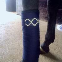 Equine Standing Wraps/Navy Standing Wraps w/Navy Quatrefoil Velcro Straps by Brax Designs