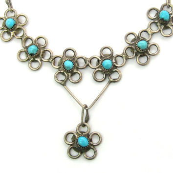 Native American Necklace. Navajo, Zuni. Turquoise Daisy Flowers Pendant. Sterling Silver. Handmade. Vintage 1930s Southwestern Jewelry