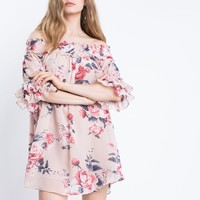 Blossoming Off The Shoulder Dress