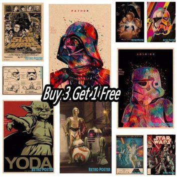 ICIKU7Q Star wars movie retro vintage poster