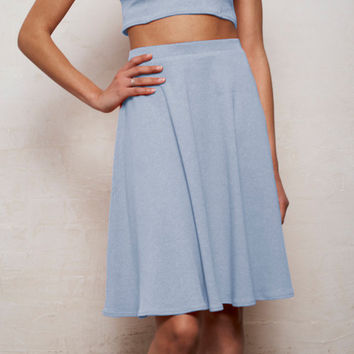High Waisted Floaty Skater Skirt in Pastel Blue