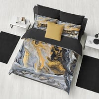 Gold and Black Marble Duvet Cover or Comforter, art deco style, modern marble, unique elegant,  bedroom decor