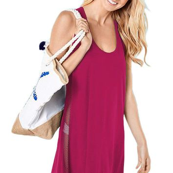Rosy Mesh Side Racerback Coverup