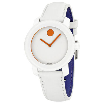 Movado Bold White Dial White Leather Strap Unisex Watch 3600153