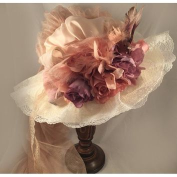 Victorian Touring Hat Antique with French Lavender
