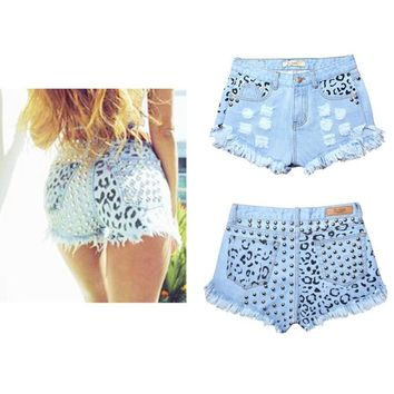 High Waist Denim Rivet Printed Distressed Mini Shorts