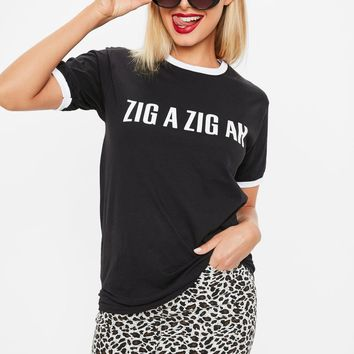 Missguided - Black Zig A Zig Ah Slogan Ringer T-Shirt