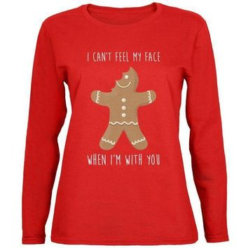 PEAPGQ9 Christmas Gingerbread Man Can't Feel My Face Womens Long Sleeve T Shirt