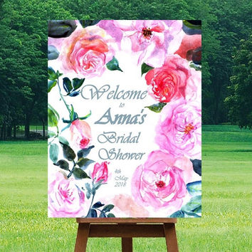 Birdal shower Welcome Sign, Pink fuchsia watercolor roses, Printable signs, floral Signage, gold silver decors, girl invite, custom personal