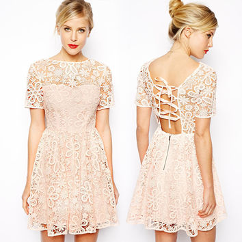 Beige Floral Lace Embroidered Corset Back Dress