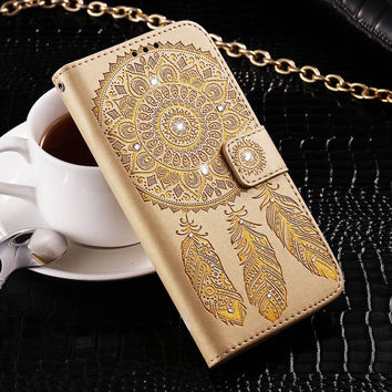 For Samsung Galaxy S6 Edge Plus S7 Edge Mobile Phone Case Chic Printed Embossing Campanula Diamond Case Card Slot Wallet Cover