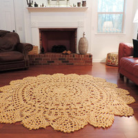 Extra Large Crochet Doily Lace Rug, Soft Buttery Country Yellow Rug Carpet, Floor Mat, Lace Area Rug, Nursery Rug, Bedroom shabby rustic rug