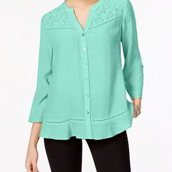 NY Collection Women Button Down Roll Tab Sleeve Blue Lace Trim Blouse Top XS