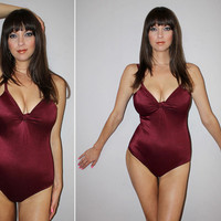 Vintage 70s METALLIC One Piece Bathing Suit / SEXY, Plunging Swimsuit / Burgundy, Shiny / DISCO / Twist Front, Cleavage Enhancing / Small