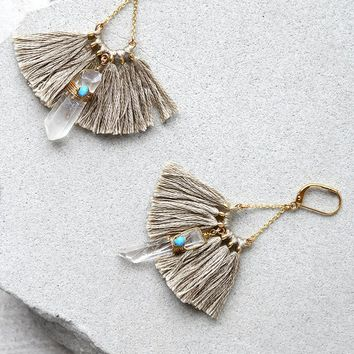 Tamara Taupe Tassel Earrings