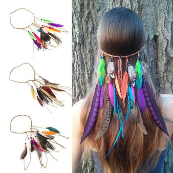 2018 New Fashion Hair Band Indian Peacock Feather Pendant Headband Leaves Rope Knitted Belt Elastic Hairwear