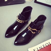 Height Increasing Ankle Boots Ladies Buckle Shoes Flats Pointed Toe Appliques Shoes Size 35-39
