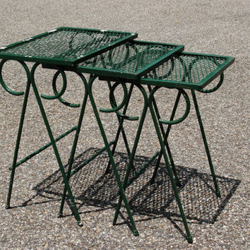 Salterini Nesting Tables, 3 Mid Century Wrought Iron Nesting Tables, Salterini Metal Nesting Tables, 3 Metal Mesh Nesting Patio Tables