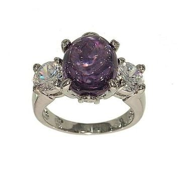 Large Contemporary Three Stone Fashion Ring Done in Oval Cabachon Amethyst CZ and Round Clear Cubic Zirconia