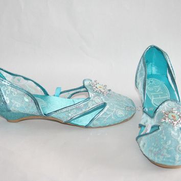 Licensed cool FROZEN Elsa Girls Costume Shoes Snowflake Cameo 9/10-2/3 Disney Store NEW