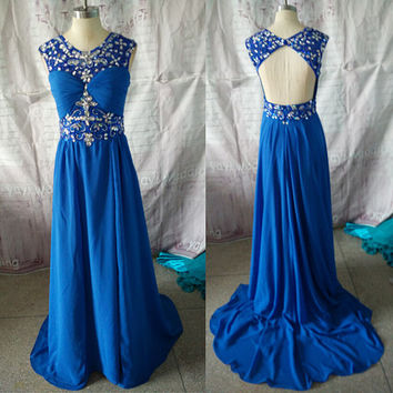 New Arrival Scoop Neckline Royal Blue Chiffon Gorgeous Beadworks Backless Sexy Prom Dress Pageant Dress Party Dress ET174