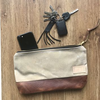 The Willamette Clutch in Waxed Canvas and leather