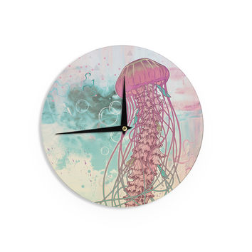 "Mat Miller ""Jellyfish"" Teal Illustration Wall Clock"