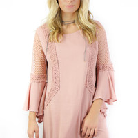 Off The Coast Dusty Rose Bell Sleeve Dress