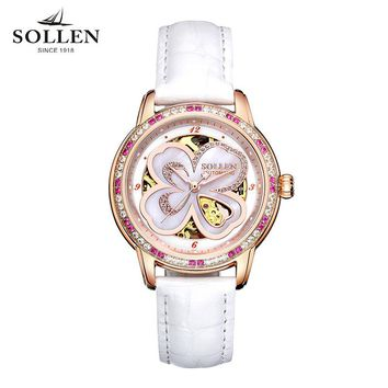 Relogio Masculino genuine women watches automatic mechanical leather clock fashion hollow waterproof women wristwatches for gift