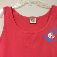 Anchor Monogrammed Colors Tank Top/ Swimsuit Cover by christylous