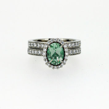 Mint green tourmaline and diamond halo engagement ring set, oval engagement ring, light green, tourmaline engagement, diamond band, vintage
