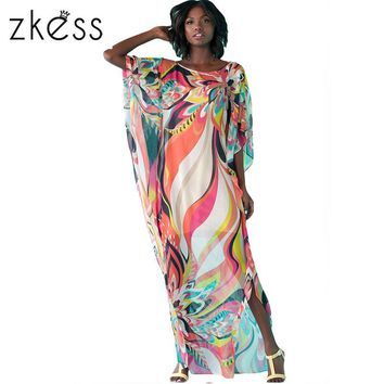 Artistic Colorful Floral Print Chiffon Kaftan Smock Summer Beach Dress LC42066