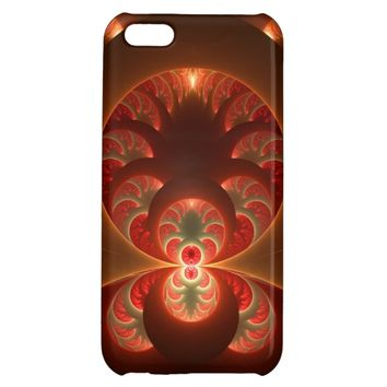 Luminous abstract modern orange red Fractal iPhone 5C Cases