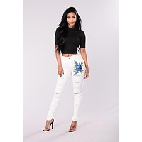 White Embroidery Flowers Holes Slim Low Waist Long Jeans