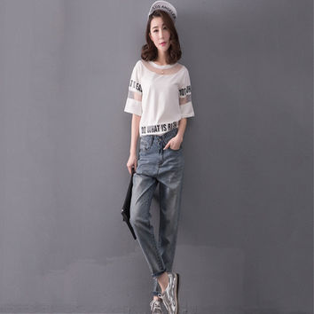 2016 spring New pattern Our MM large size women add fertilizer increased in high waisted britches baggy jeans  pants