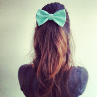 mint big hair bow