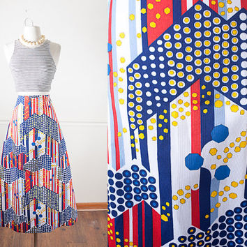 1960s Psychedelic Maxi Skirt / Hippie Skirt / High Waisted Skirt / Bohemian Maxi Skirt / Boho Chic 60s Skirt / Mod Chevron Striped Skirt