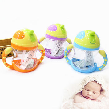 Popular Sale!!!Baby Kids Handle Straw Water Bottle 220ml Cute Water Juice Training Bottle For Kids Cup Children Gift JD0049 salebags