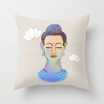 Buddha Throw Pillow by Vanya