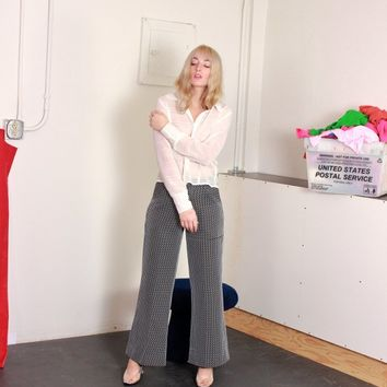White Striped Flared Trousers / L