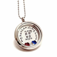 Living Locket - My Husband, My Hero - Floating Charm Locket - Memory Locket