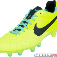 Nike Tiempo Legend IV FG Soccer Cleats - Volt with Green Glow - SoccerPro.com