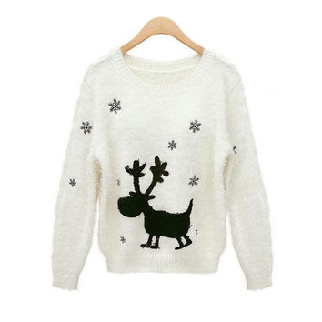 Christmas Sweater Women Cute Xmas Deer Sweat snowflakes Women Fashion Embroidery Sweaters And Pullovers