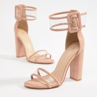 Public Desire Mission Dusty Pink Clear Strap Block Heeled Sandals at asos.com