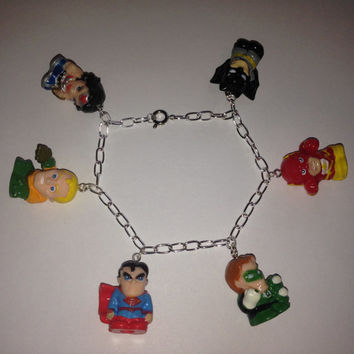 Squinkies Charm Bracelet - DC Justice League - made from re-purposed toys