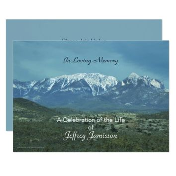 Celebration of Life Invitation, Snowy Mountains Invitation