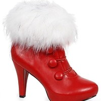 "Ellie Shoes E-414-CLAUS 4"" Women Bootie with Faux Fur"