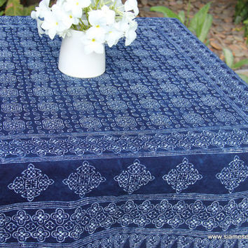 Hmong Indigo Batik Square Table Cloth Naturally Dyed Cotton 60 inch